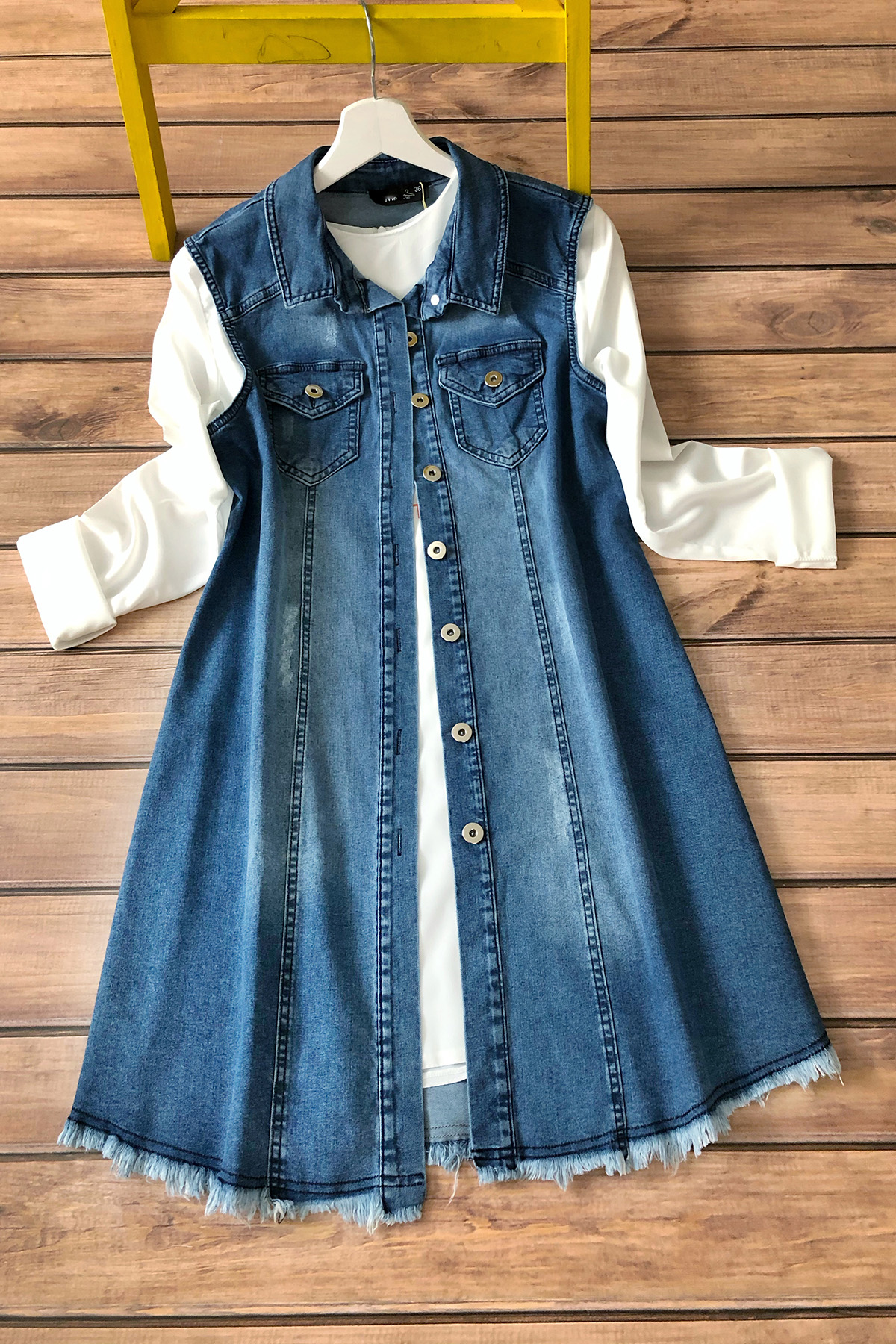 Kot Yelek Bluz Takım 3181- Mavi
