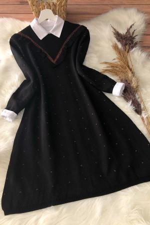 Fırfırlı Triko Tunik 12007 - Siyah