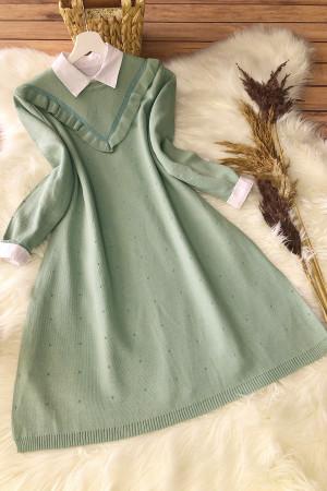 Fırfırlı Triko Tunik 12007 - Yeşil
