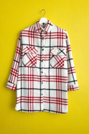 Cepli Salaş Ekose Ceket Gömlek - Bej