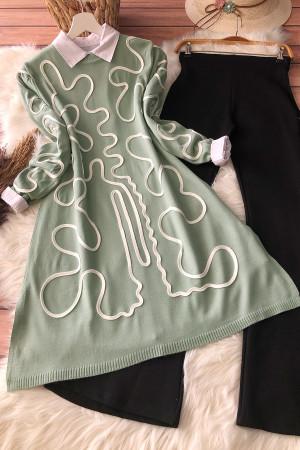 Çizgi Desen Triko Tunik 2010 - Mint