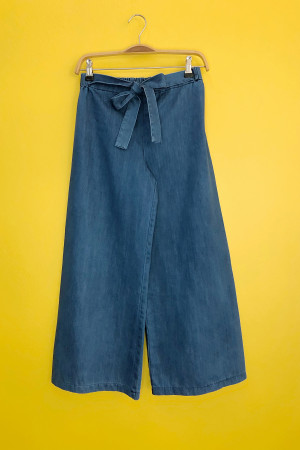 Kuşaklı Kot Pantolon 1004 - Yeni mavi