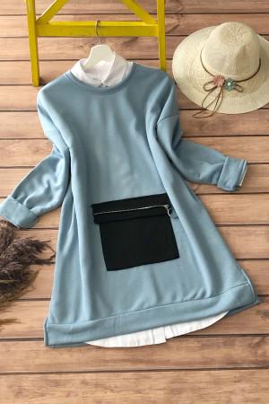 Cepli Üçiplik Sweatshirt 3120 - Mavi