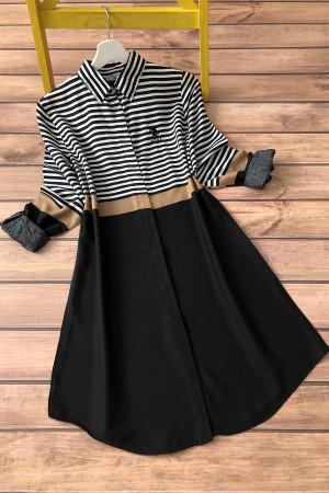 Çizgili Gömlek Tunik 3186 - Siyah