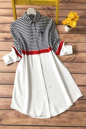 Çizgili Gömlek Tunik 3186 - Beyaz