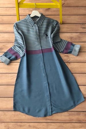 Çizgili Gömlek Tunik 3186 - İndigo