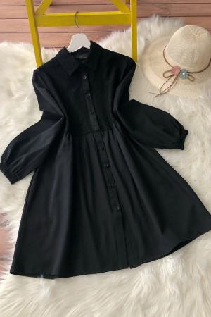 Dantelli Gömlek Tunik - Siyah
