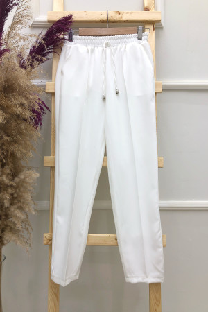 Cepli Dar Paça Pantolon - Beyaz