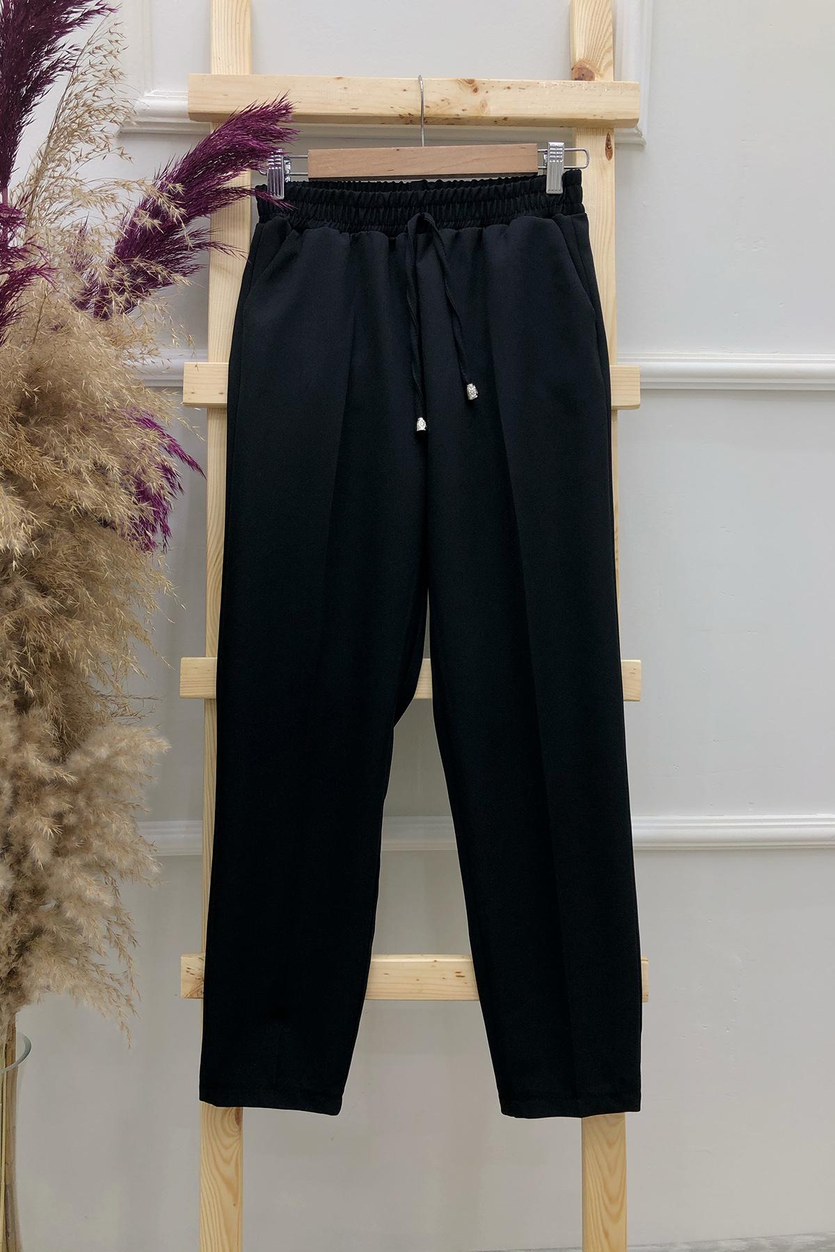 Cepli Dar Paça Pantolon - Siyah