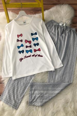 Kurdela Pijama Takım - Beyaz
