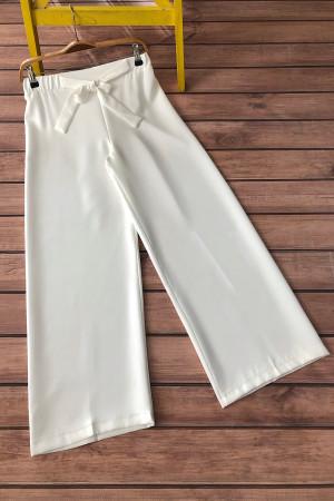 Kuşaklı Bol Paça Pantolon - Beyaz