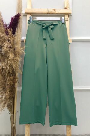 Kuşaklı Bol Paça Pantolon - Çağla Yeşili