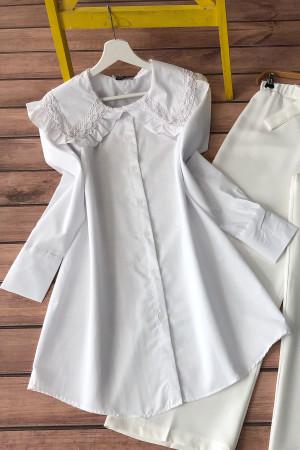 Püskül Yaka Gömlek  - Beyaz