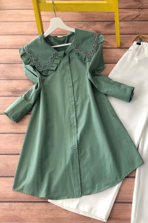 Püskül Yaka Gömlek  - Yeşil
