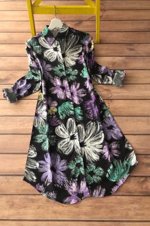 Renkli Çiçek Desen Viskon Tunik 5005 - Lila