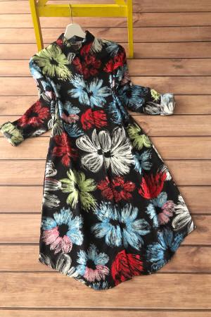 Renkli Çiçek Desen Viskon Tunik 5005 - Mavi