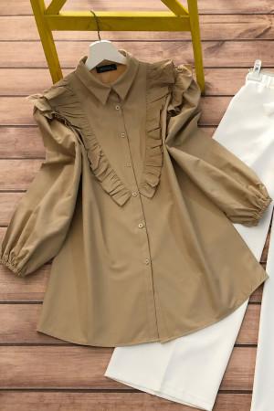 Balon Kol Fırfırlı Gömlek - Camel