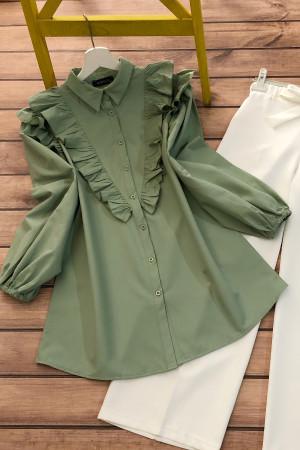 Balon Kol Fırfırlı Gömlek - Yeşil