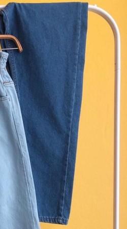 Beli Lastikli Boyfriend Kot Pantolon 1010 - Mavi