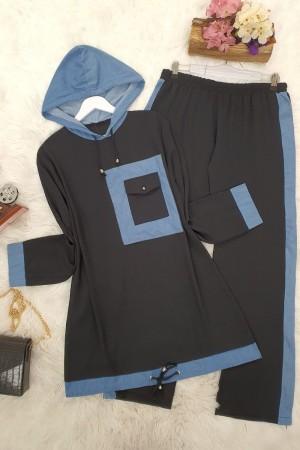 Cep Detaylı Ayrobin Takım -Siyah