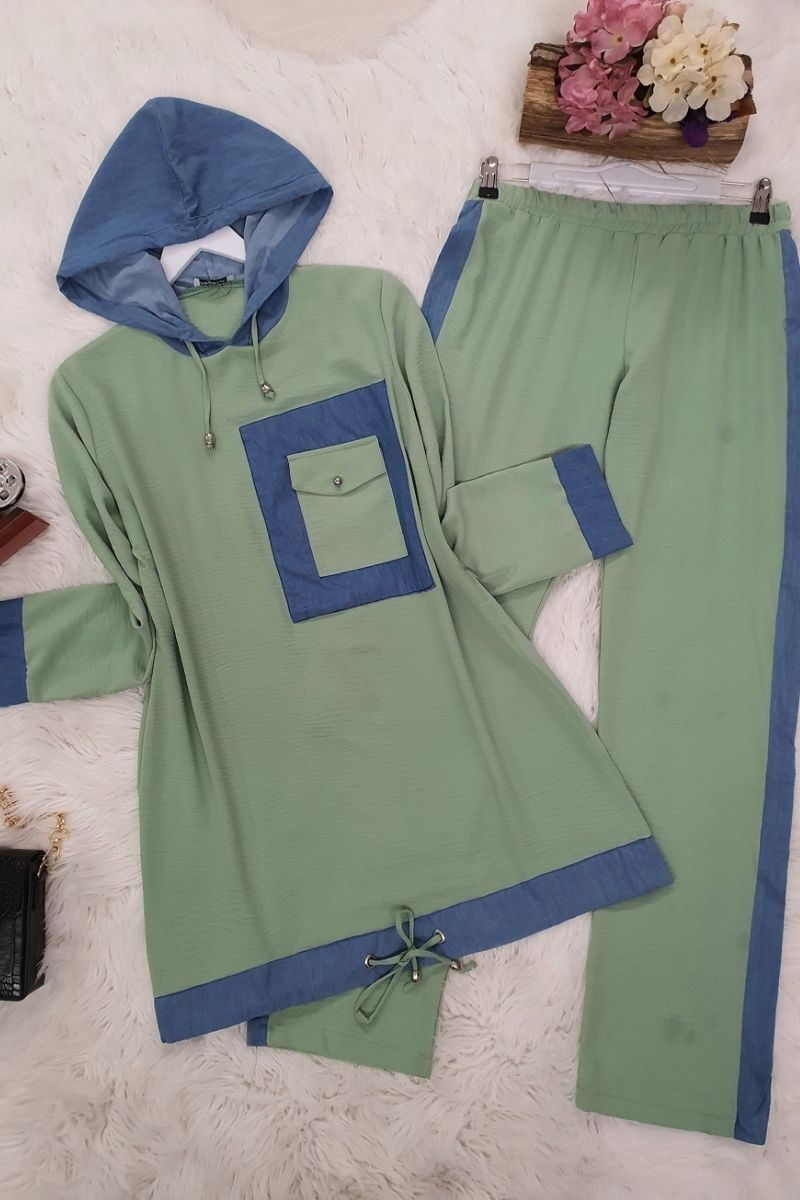 Cep Detaylı Ayrobin Takım -Yeşil