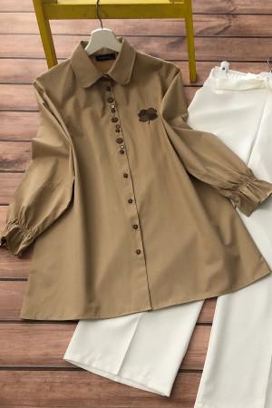 Düğme Detaylı Gömlek - Camel