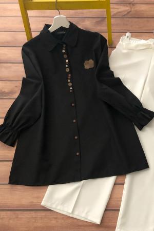 Düğme Detaylı Gömlek - Siyah
