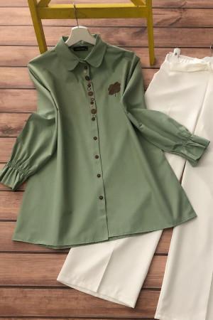 Düğme Detaylı Gömlek - Yeşil