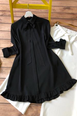 Fırfırlı Tunik MQ3989 - Siyah