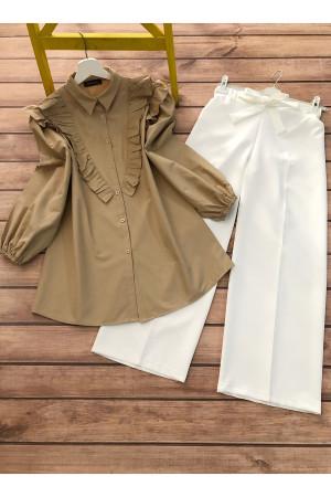 Gömlek Pantolon Takım - Camel