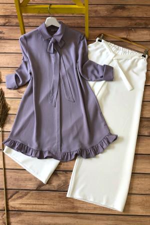 Kombin-Kurdela Fırfır Detaylı Tunik Ve Pantolon- Lila