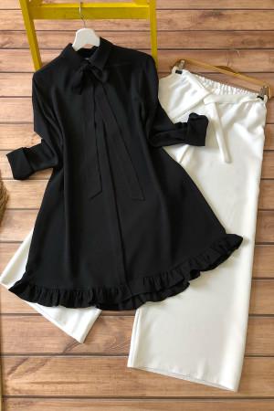 Kombin-Kurdela Fırfır Detaylı Tunik Ve Pantolon- Siyah