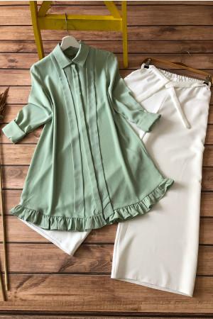 Kombin-Kurdela Fırfır Detaylı Tunik Ve Pantolon- Yeşil