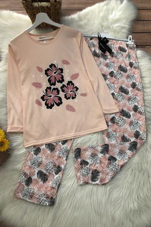 Çiçek Pijama Takım - Pudra