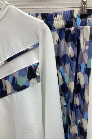 Fırça Desen Etek Bluz Takım