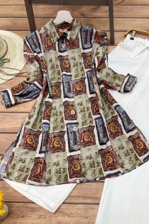 Karma Desenli Salaş Gömlek 2731 - Renkli