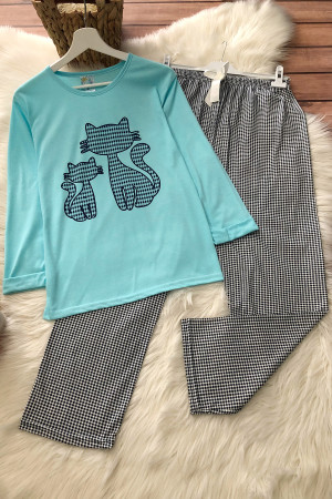 Kedi Pijama Takım - Mavi