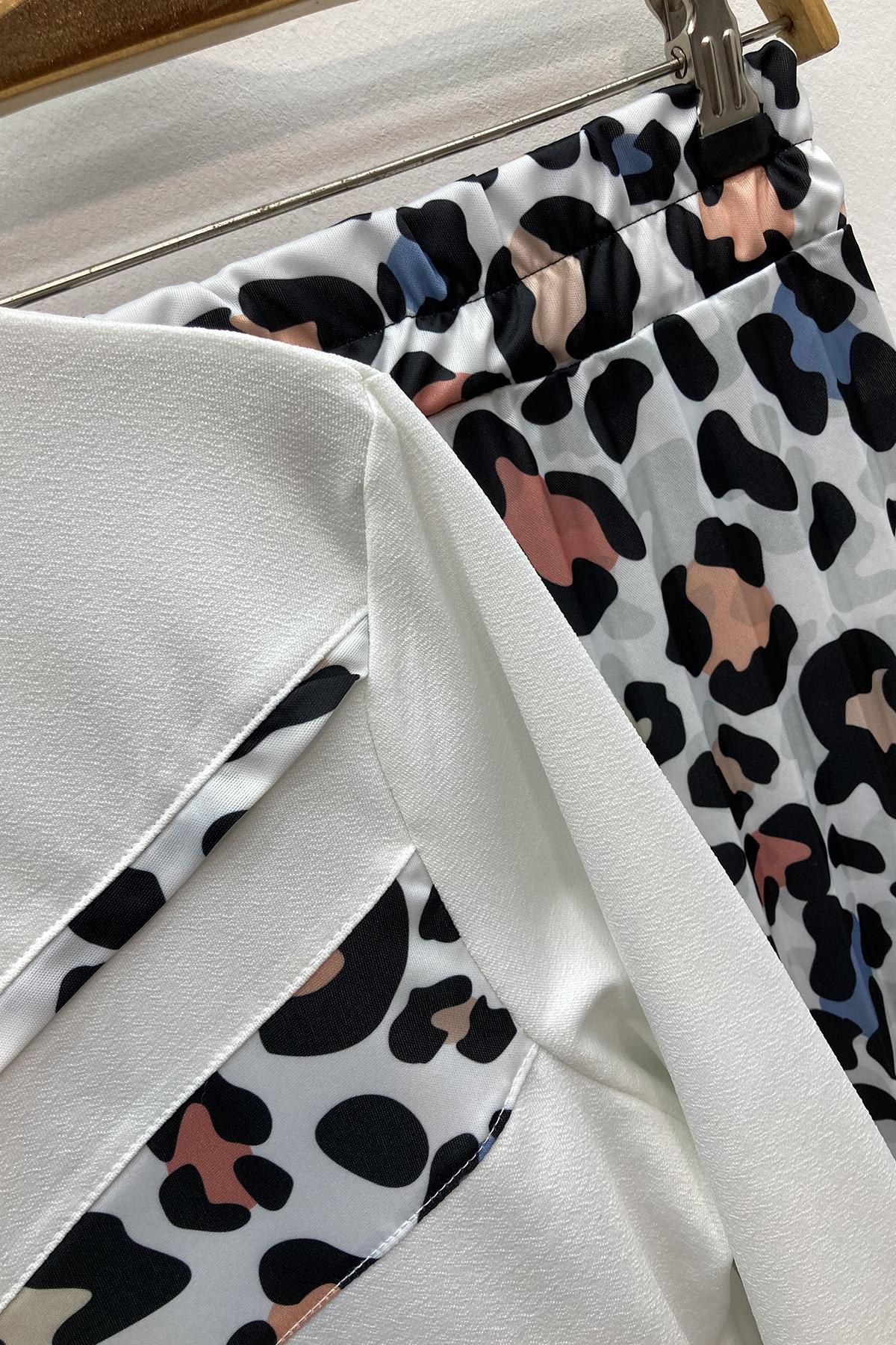 Leopar Etek Bluz Takım - Beyaz