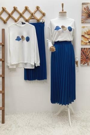 Moon Etek Bluz Takım - Mavi