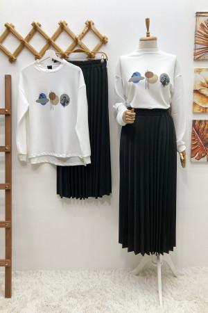 Moon Etek Bluz Takım - Siyah