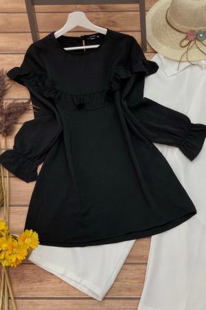 Yelda Fırfırlı Tunik - Siyah