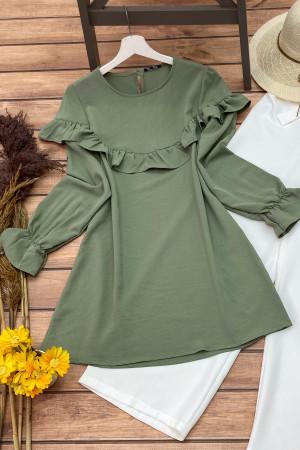 Yelda Fırfırlı Tunik - Yeşil