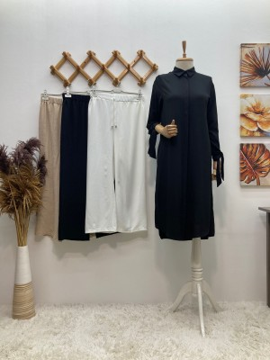 Boydan Düğmeli Basic Tunik - Siyah
