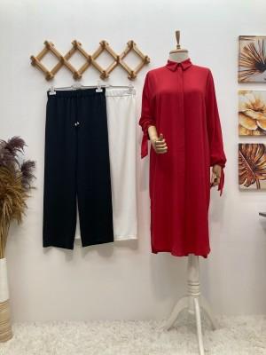 Boydan Düğmeli Basic Tunik - Kırmızı