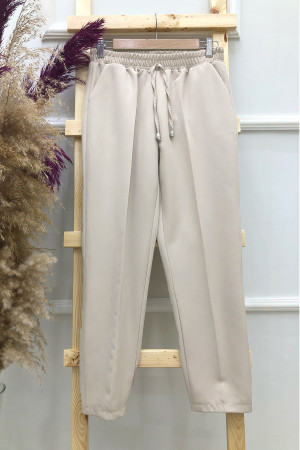 Cepli Dar Paça Pantolon - Taş