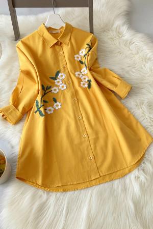 Papatya Nakışlı Oversize Gömlek - Sarı