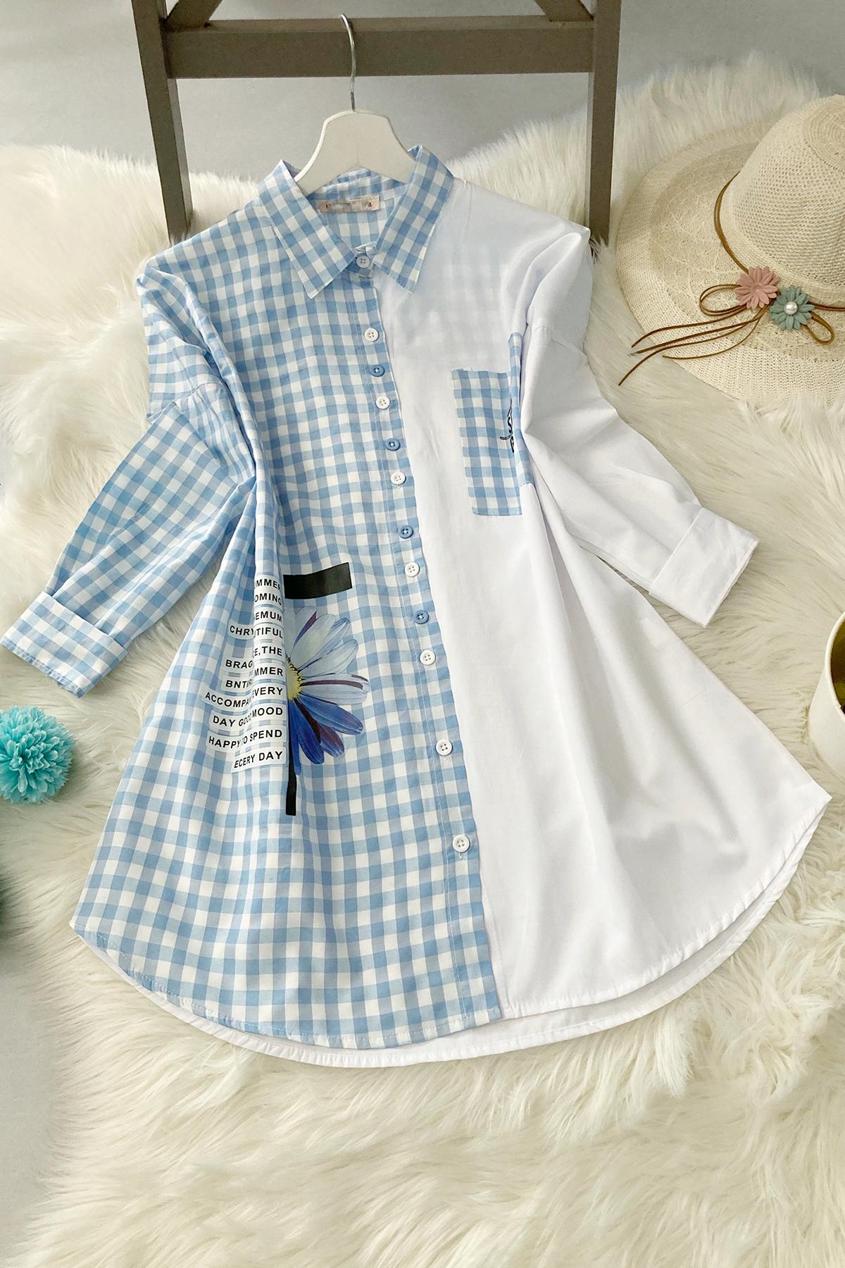Pitikare Oversize Gömlek - Açık Mavi
