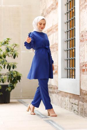 Kolları Fırfırlı Tunik & Pantolon İkili Takım - İndigo