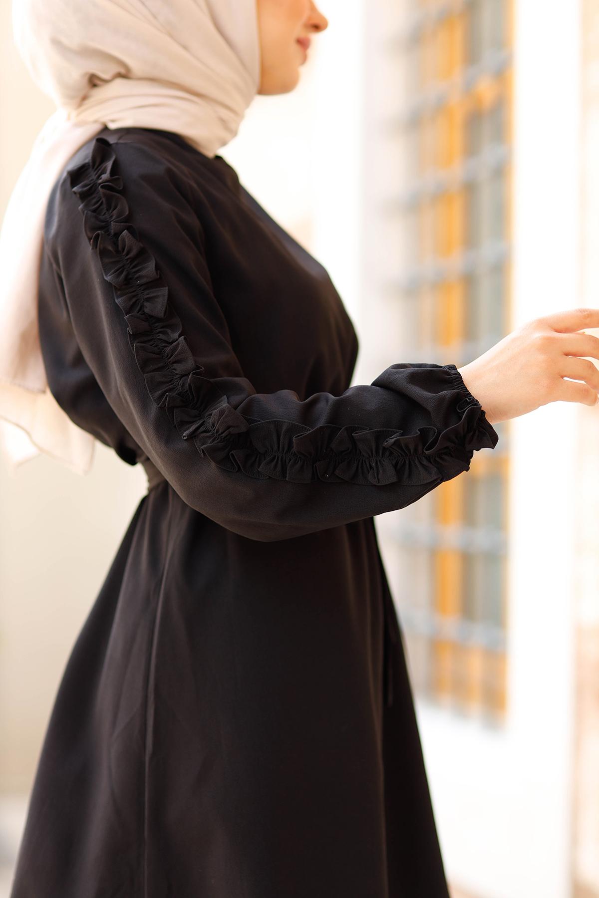 Kolları Fırfırlı Tunik & Pantolon İkili Takım - Siyah