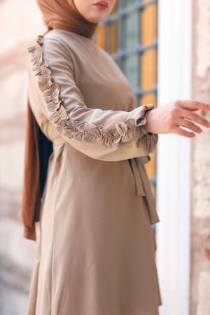 Kolları Fırfırlı Tunik & Pantolon İkili Takım - Vizon